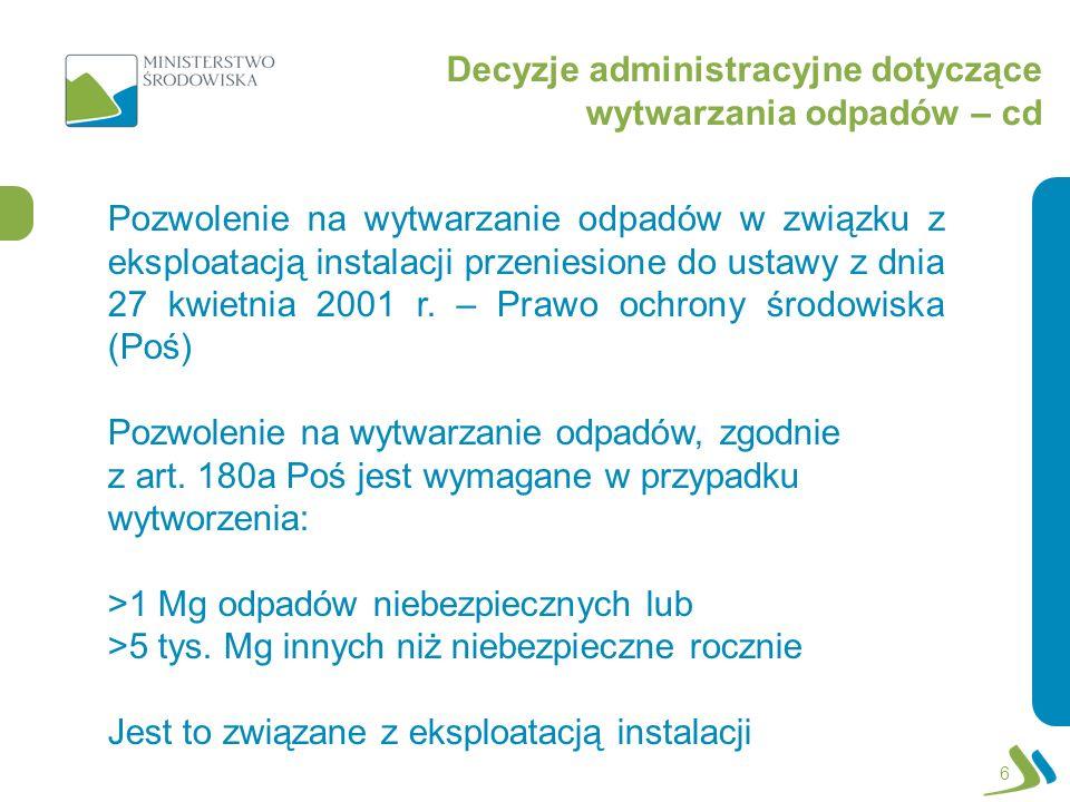 Decyzje administracyjne dotyczące wytwarzania odpadów – cd