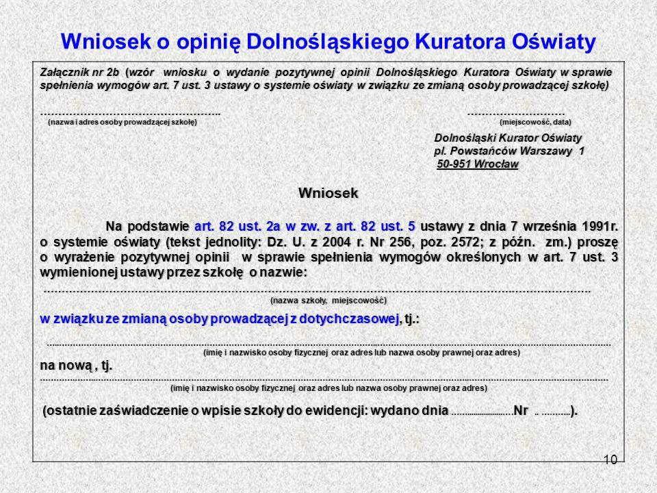 Wniosek o opinię Dolnośląskiego Kuratora Oświaty