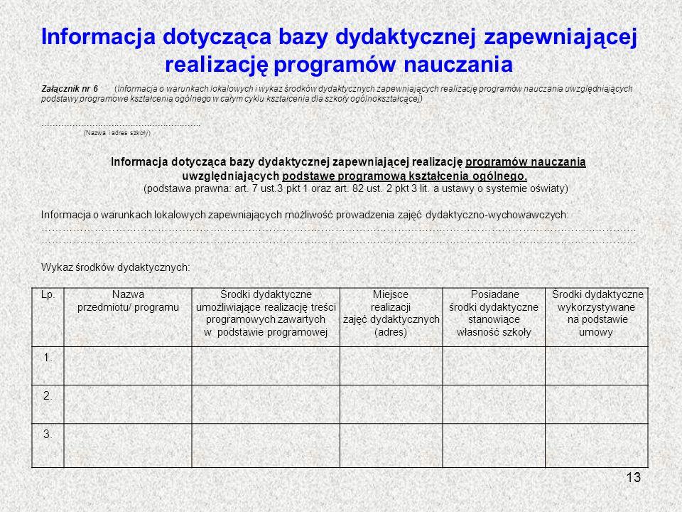 Informacja dotycząca bazy dydaktycznej zapewniającej realizację programów nauczania