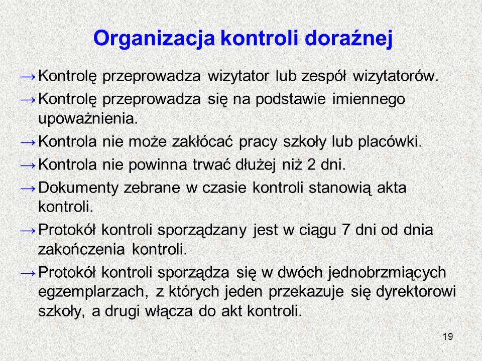 Organizacja kontroli doraźnej