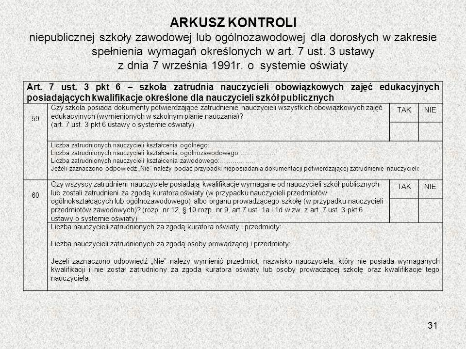 ARKUSZ KONTROLI niepublicznej szkoły zawodowej lub ogólnozawodowej dla dorosłych w zakresie spełnienia wymagań określonych w art. 7 ust. 3 ustawy z dnia 7 września 1991r. o systemie oświaty
