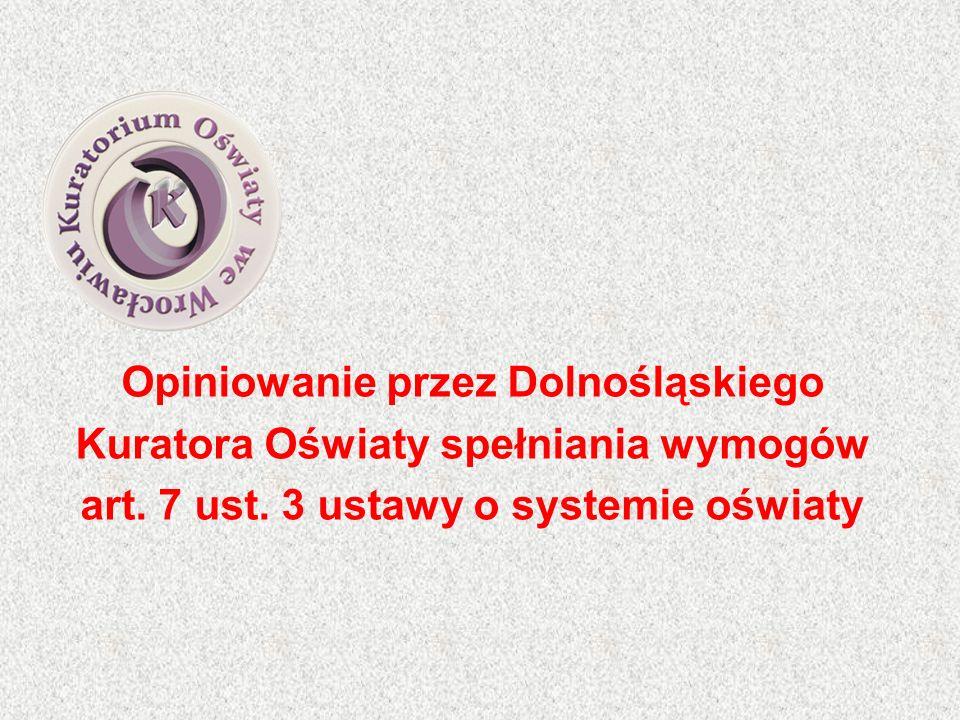 Opiniowanie przez Dolnośląskiego Kuratora Oświaty spełniania wymogów art.