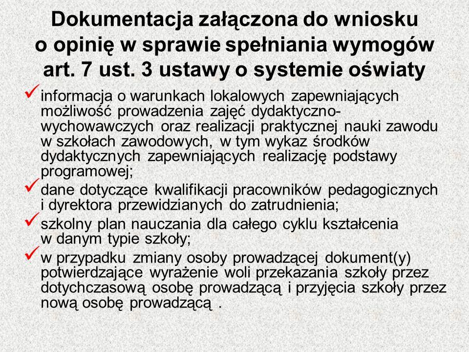 Dokumentacja załączona do wniosku o opinię w sprawie spełniania wymogów art. 7 ust. 3 ustawy o systemie oświaty