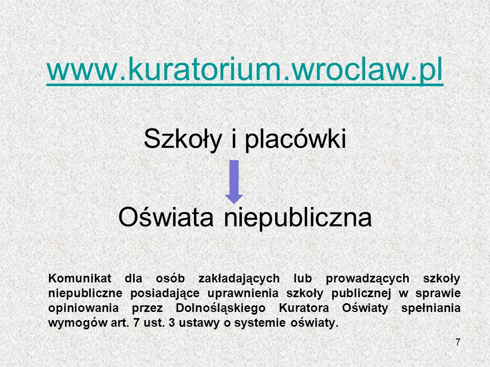 www.kuratorium.wroclaw.pl Szkoły i placówki Oświata niepubliczna