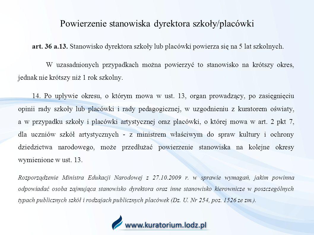 Powierzenie stanowiska dyrektora szkoły/placówki