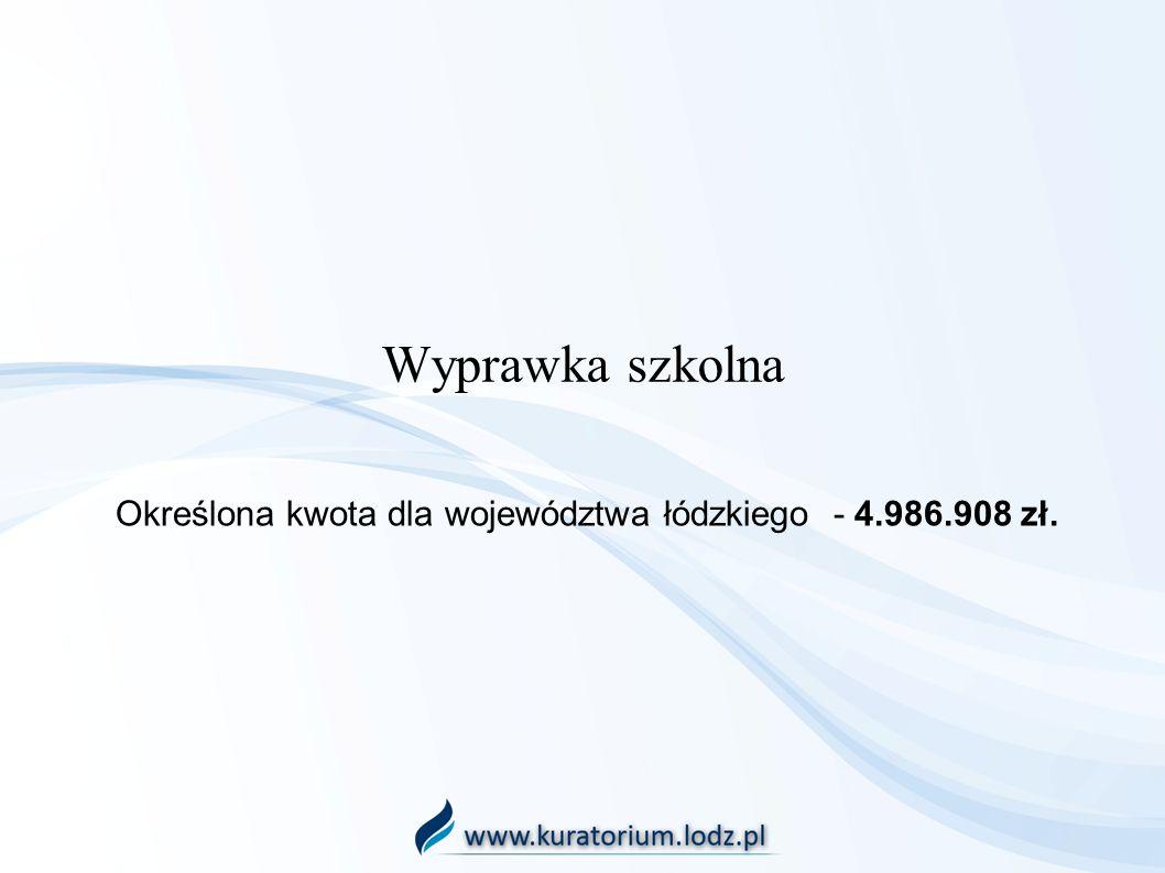 Określona kwota dla województwa łódzkiego - 4.986.908 zł.