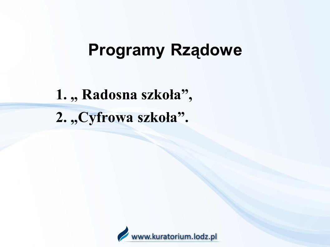 """1. """" Radosna szkoła , 2. """"Cyfrowa szkoła ."""