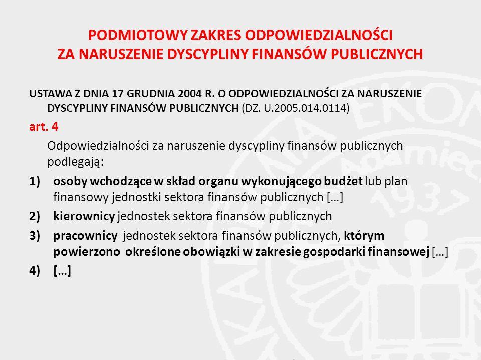 PODMIOTOWY ZAKRES ODPOWIEDZIALNOŚCI ZA NARUSZENIE DYSCYPLINY FINANSÓW PUBLICZNYCH