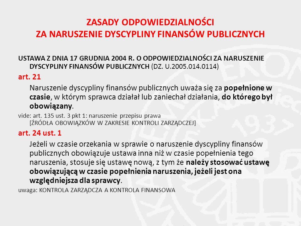 ZASADY ODPOWIEDZIALNOŚCI ZA NARUSZENIE DYSCYPLINY FINANSÓW PUBLICZNYCH