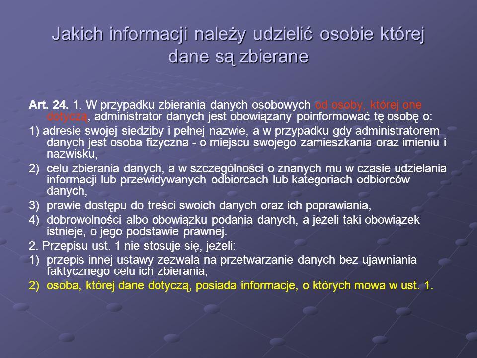 Jakich informacji należy udzielić osobie której dane są zbierane