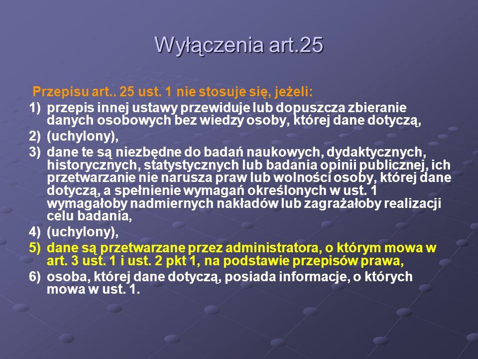 Wyłączenia art.25 Przepisu art.. 25 ust. 1 nie stosuje się, jeżeli: