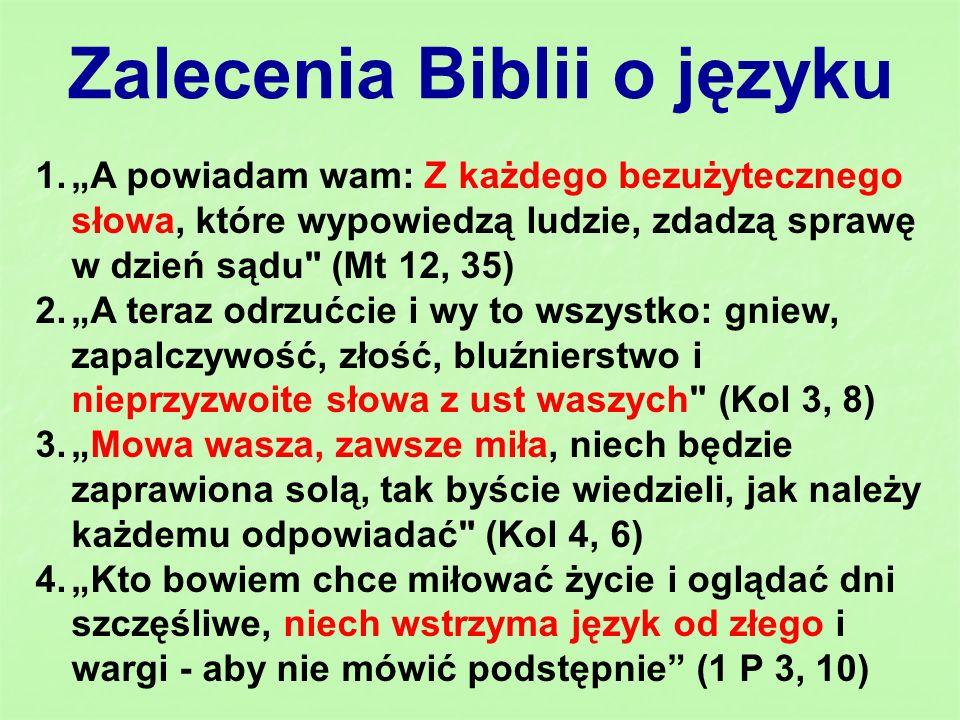 Zalecenia Biblii o języku