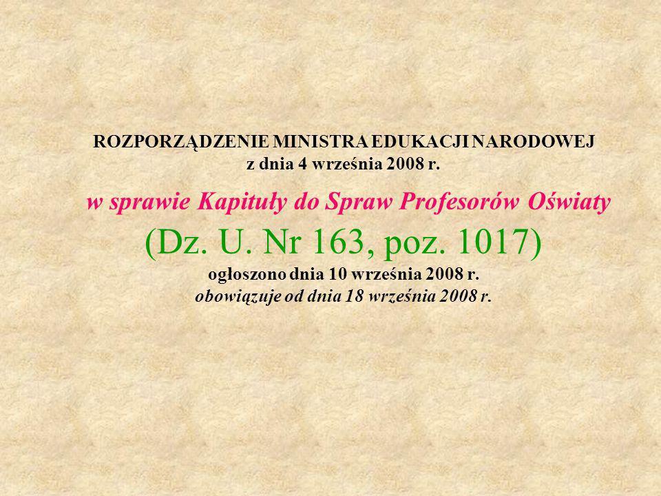 ROZPORZĄDZENIE MINISTRA EDUKACJI NARODOWEJ z dnia 4 września 2008 r