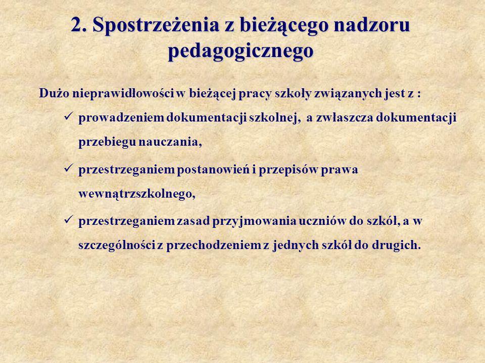 2. Spostrzeżenia z bieżącego nadzoru pedagogicznego