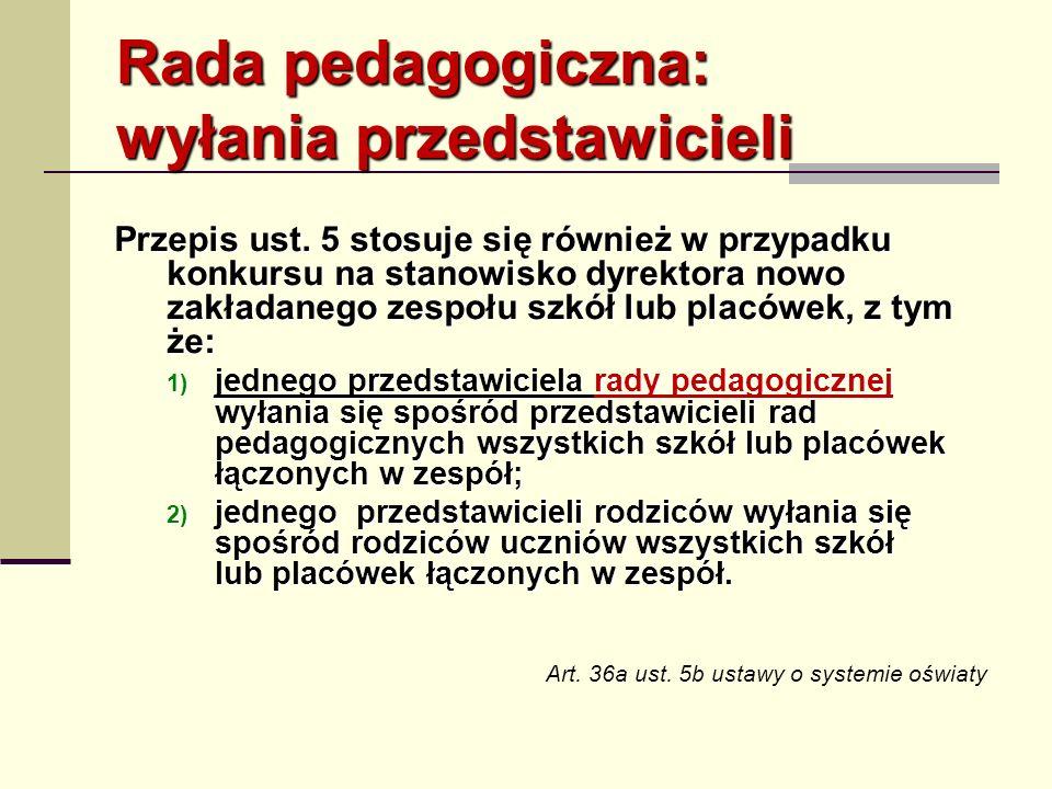 Rada pedagogiczna: wyłania przedstawicieli