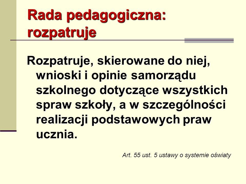 Rada pedagogiczna: rozpatruje