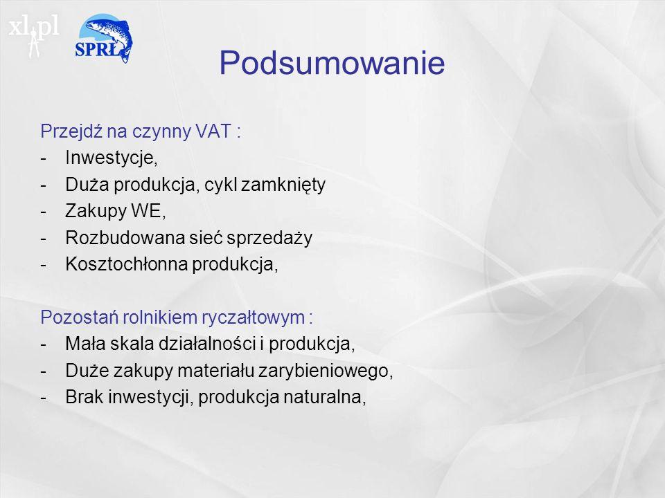 Podsumowanie Przejdź na czynny VAT : Inwestycje,