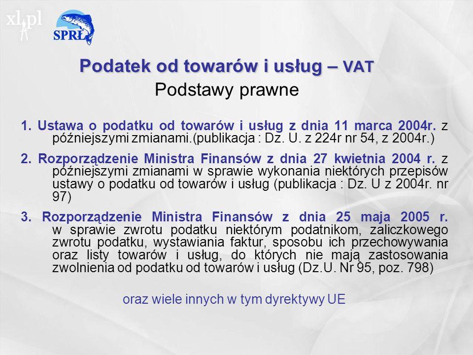 Podatek od towarów i usług – VAT Podstawy prawne