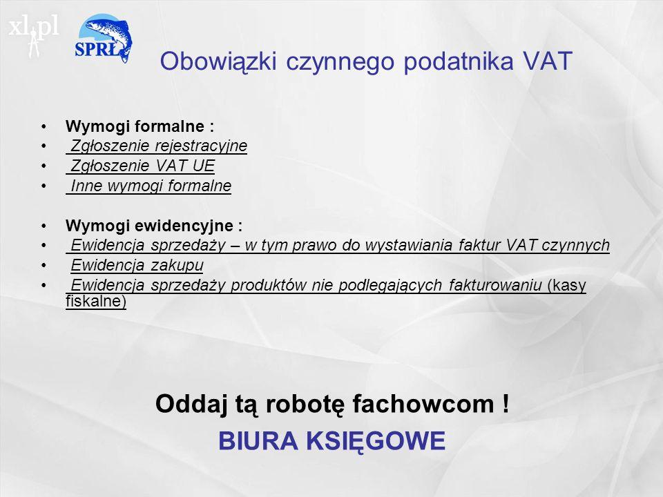 Obowiązki czynnego podatnika VAT