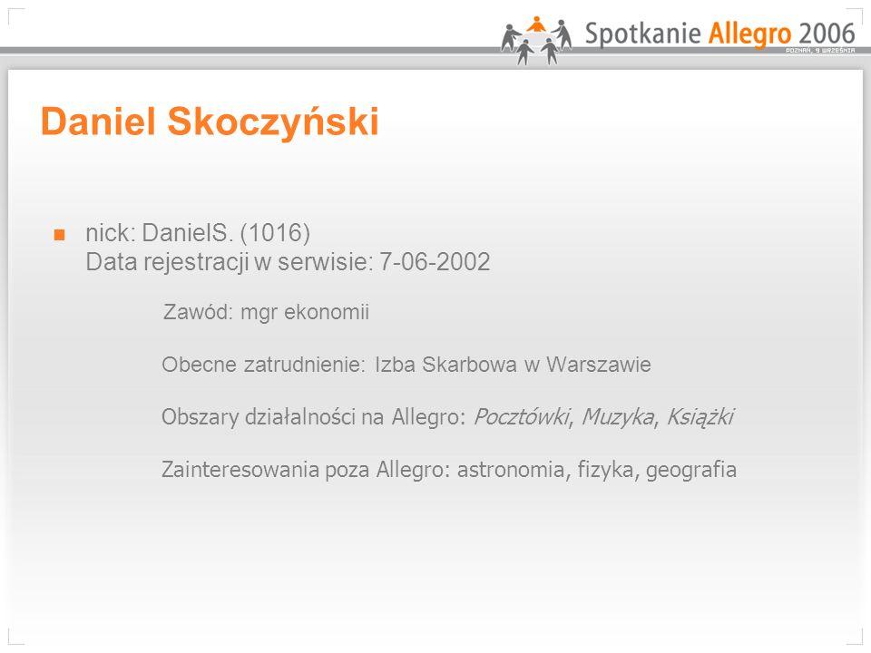 Daniel Skoczyński nick: DanielS. (1016) Data rejestracji w serwisie: 7-06-2002.