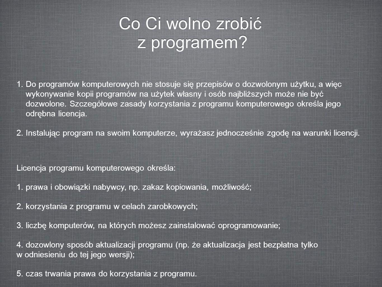 Co Ci wolno zrobić z programem