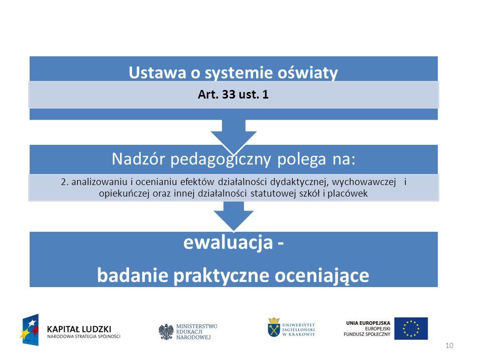 Ustawa o systemie oświaty badanie praktyczne oceniające