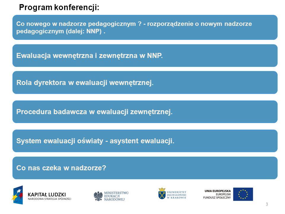 Program konferencji: Ewaluacja wewnętrzna i zewnętrzna w NNP.