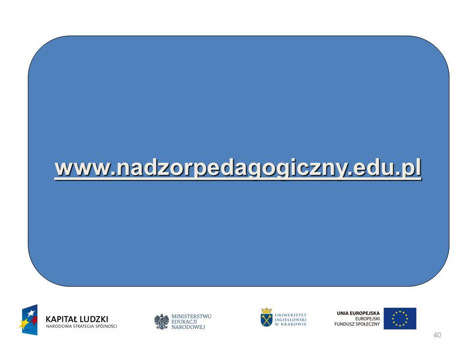 Dziękujemy za uwagę www.nadzorpedagogiczny.edu.pl