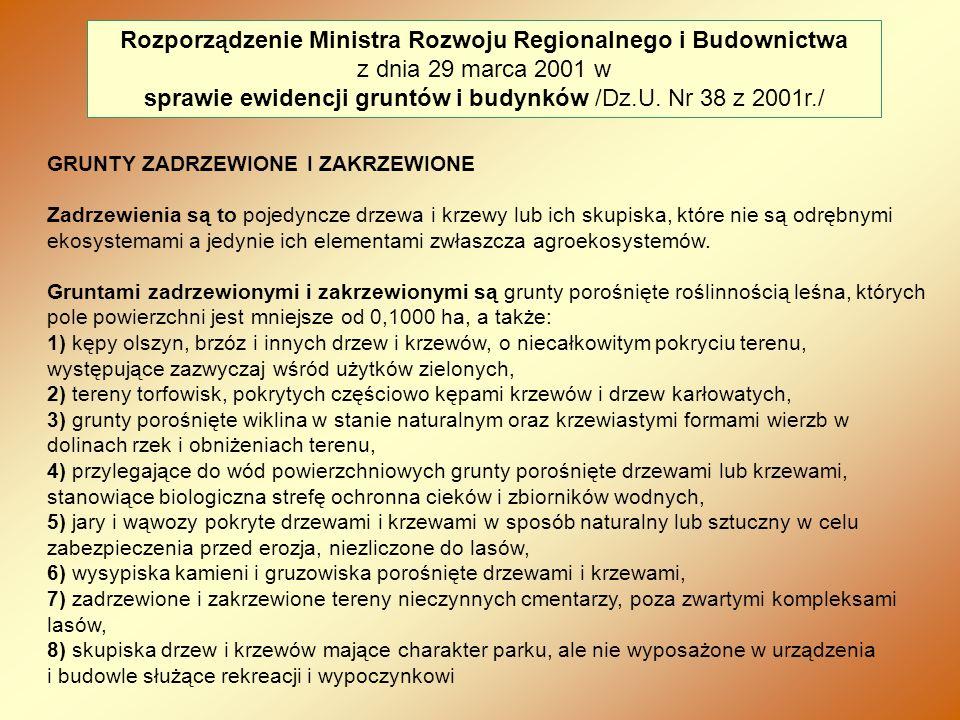 sprawie ewidencji gruntów i budynków /Dz.U. Nr 38 z 2001r./