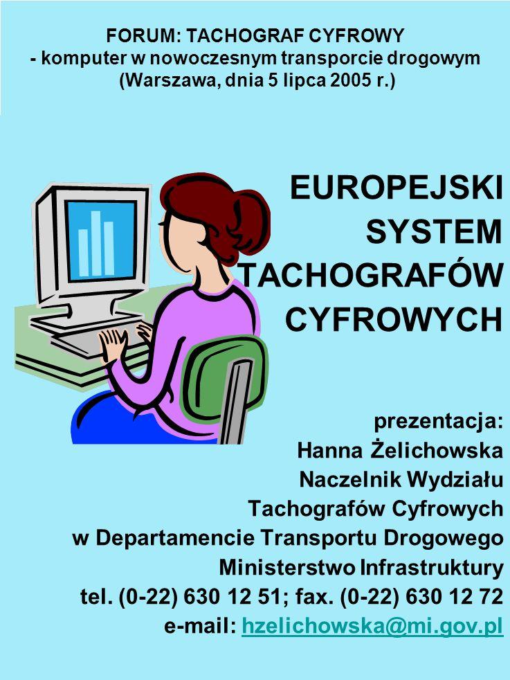 EUROPEJSKI SYSTEM TACHOGRAFÓW CYFROWYCH prezentacja: Hanna Żelichowska