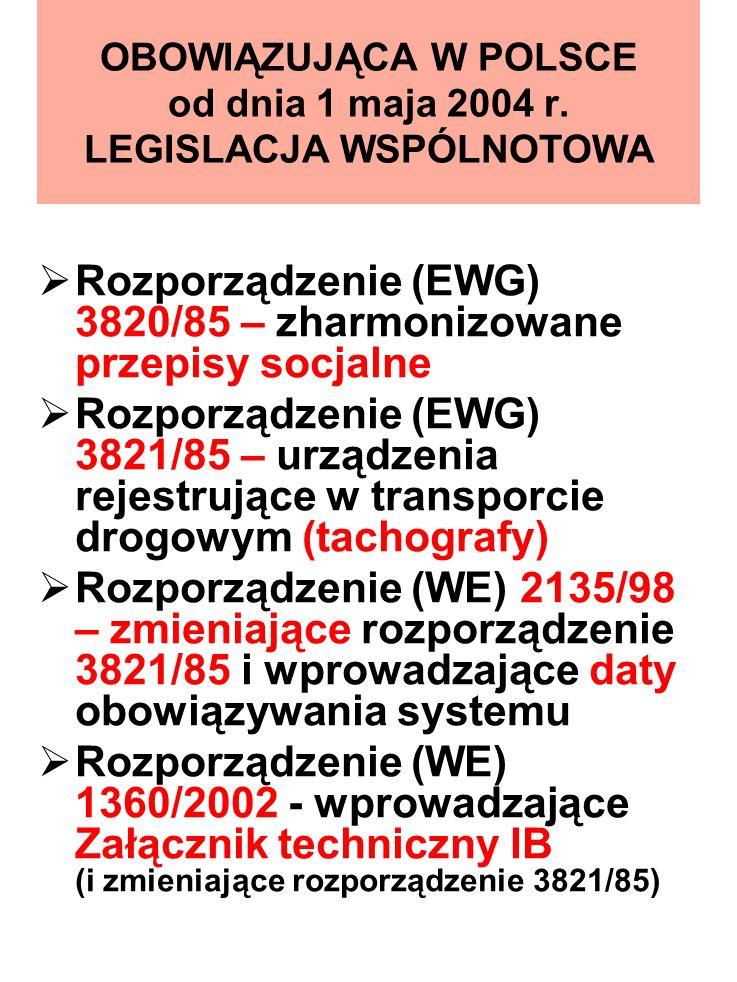 OBOWIĄZUJĄCA W POLSCE od dnia 1 maja 2004 r. LEGISLACJA WSPÓLNOTOWA