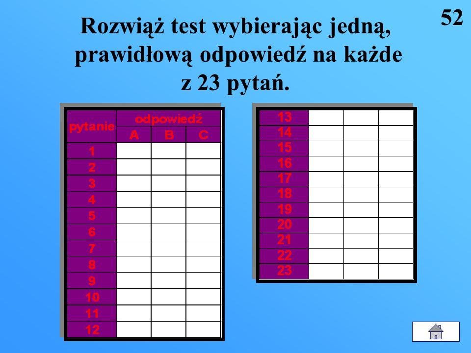 52 Rozwiąż test wybierając jedną, prawidłową odpowiedź na każde z 23 pytań.
