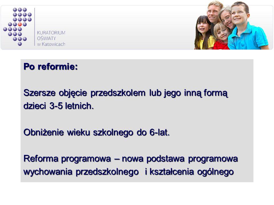 Po reformie:Szersze objęcie przedszkolem lub jego inną formą. dzieci 3-5 letnich. Obniżenie wieku szkolnego do 6-lat.