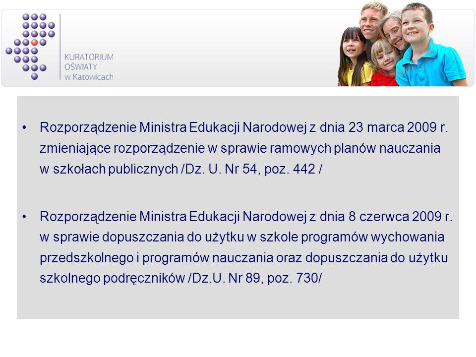 Rozporządzenie Ministra Edukacji Narodowej z dnia 23 marca 2009 r