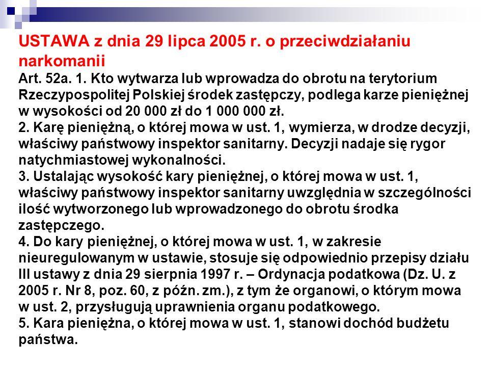 USTAWA z dnia 29 lipca 2005 r. o przeciwdziałaniu narkomanii Art. 52a