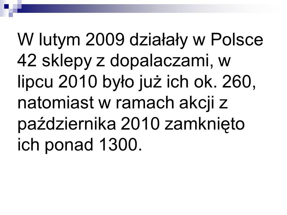 W lutym 2009 działały w Polsce 42 sklepy z dopalaczami, w lipcu 2010 było już ich ok.