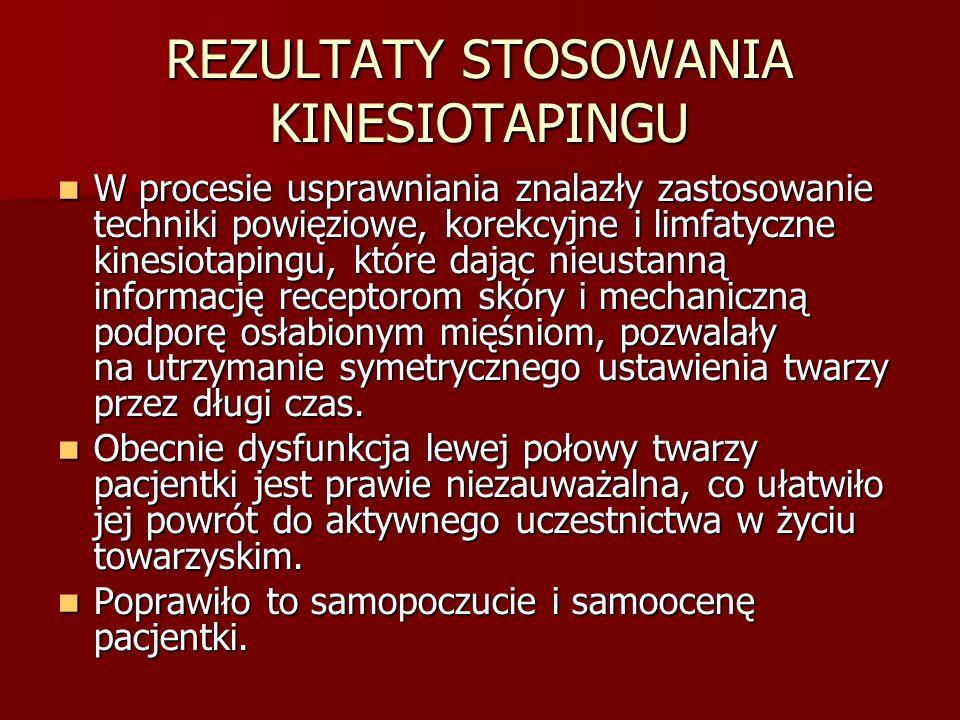 REZULTATY STOSOWANIA KINESIOTAPINGU