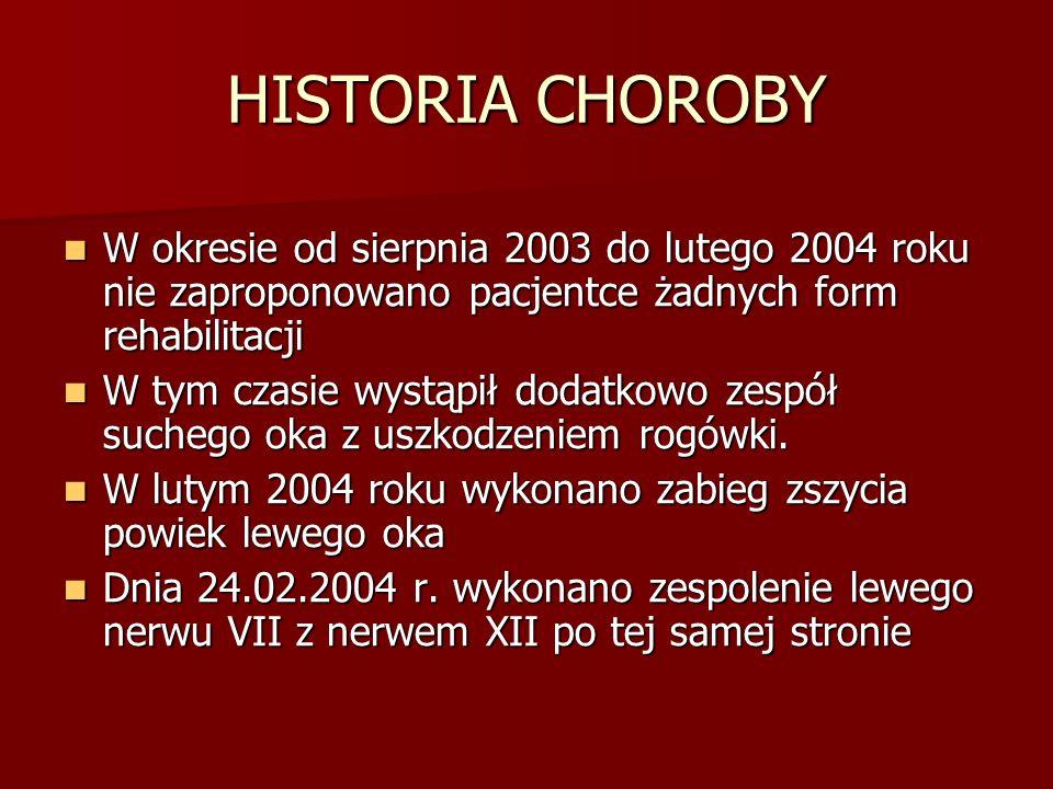 HISTORIA CHOROBY W okresie od sierpnia 2003 do lutego 2004 roku nie zaproponowano pacjentce żadnych form rehabilitacji.