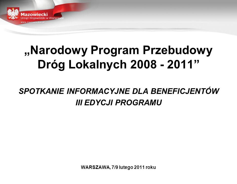 """""""Narodowy Program Przebudowy Dróg Lokalnych 2008 - 2011"""