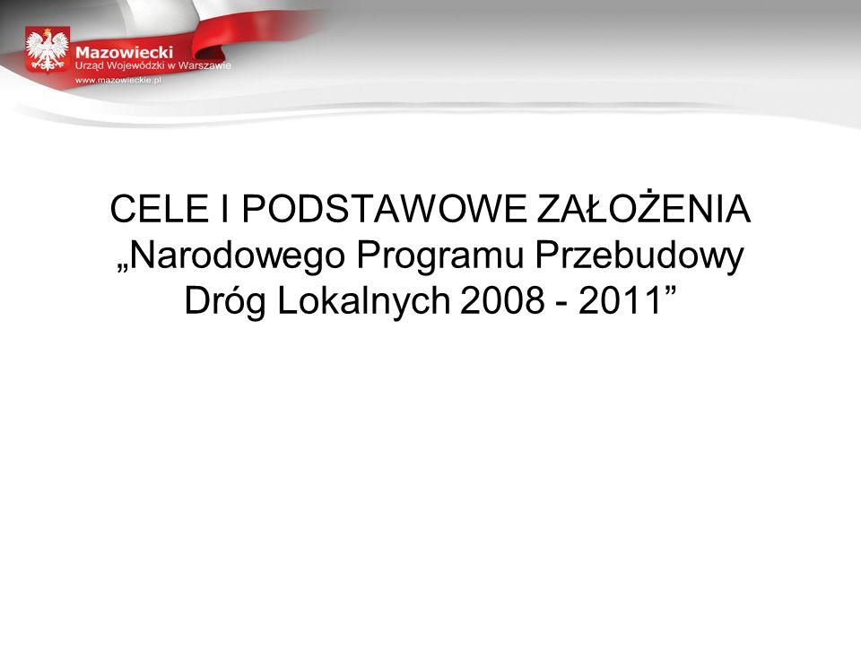 """CELE I PODSTAWOWE ZAŁOŻENIA """"Narodowego Programu Przebudowy Dróg Lokalnych 2008 - 2011"""