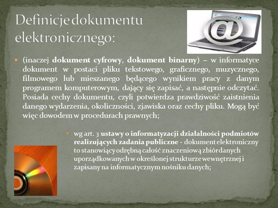 Definicje dokumentu elektronicznego:
