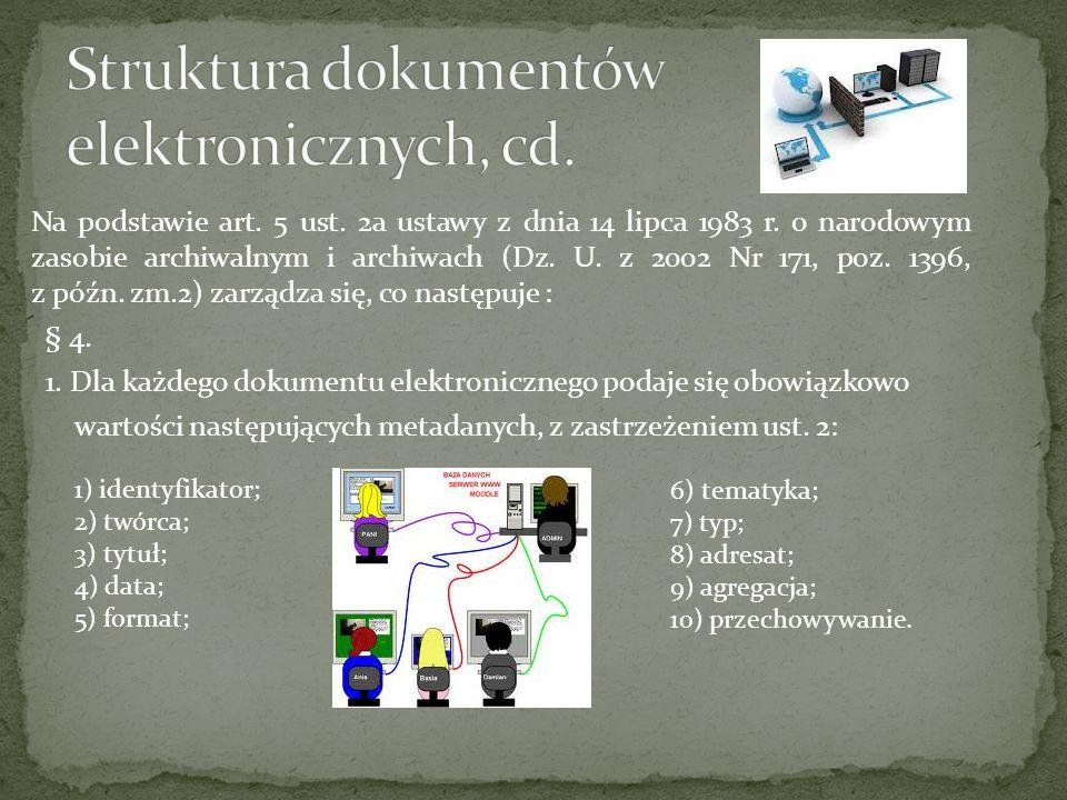 Struktura dokumentów elektronicznych, cd.