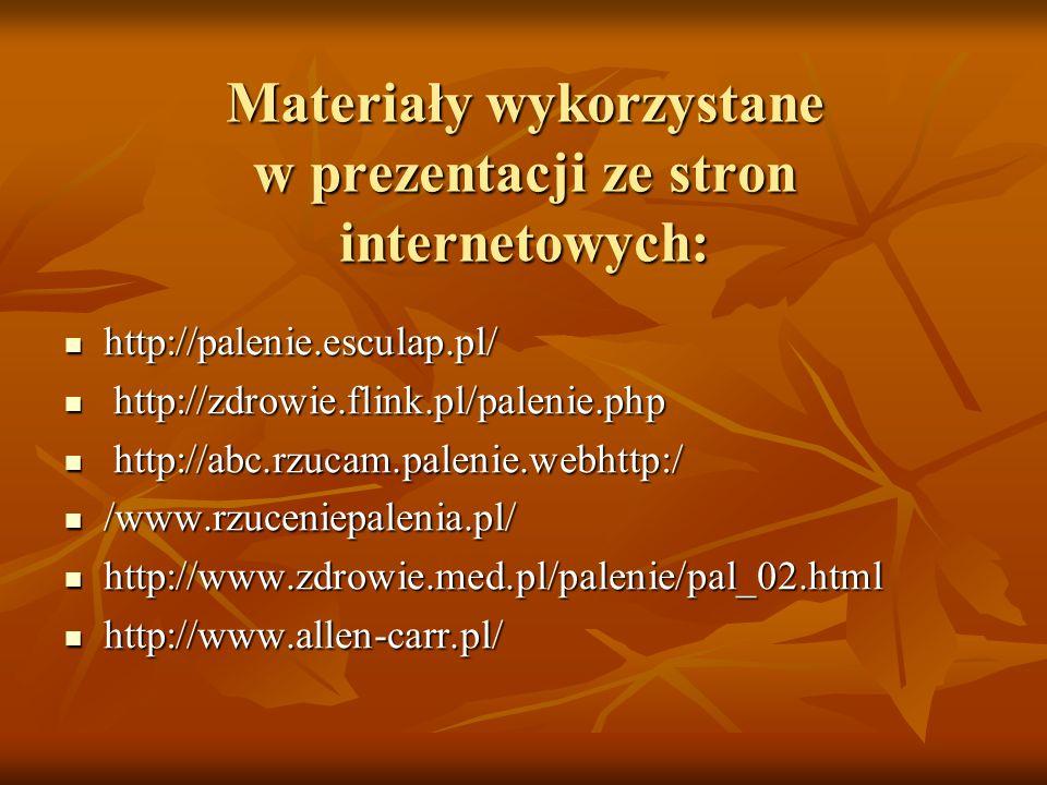 Materiały wykorzystane w prezentacji ze stron internetowych: