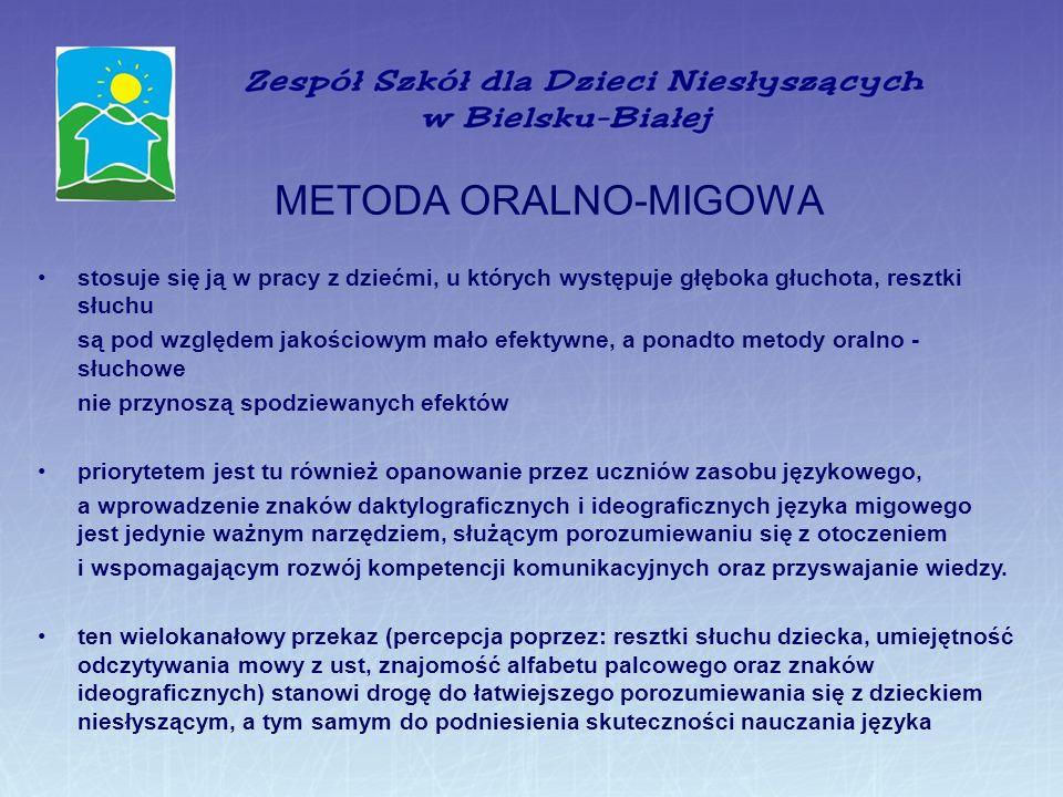 METODA ORALNO-MIGOWA stosuje się ją w pracy z dziećmi, u których występuje głęboka głuchota, resztki słuchu.