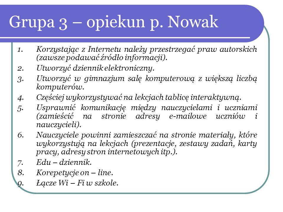 Grupa 3 – opiekun p. Nowak Korzystając z Internetu należy przestrzegać praw autorskich (zawsze podawać źródło informacji).