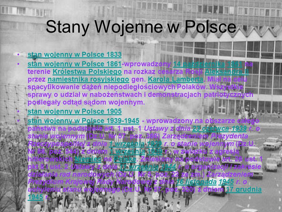 Stany Wojenne w Polsce stan wojenny w Polsce 1833