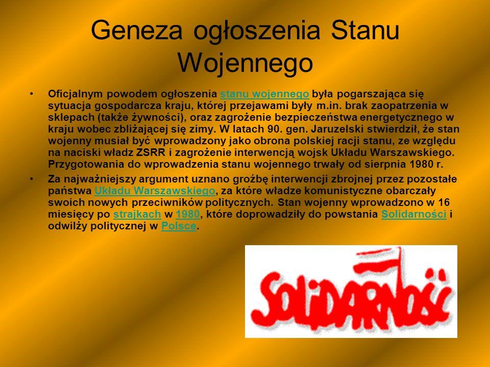 Geneza ogłoszenia Stanu Wojennego