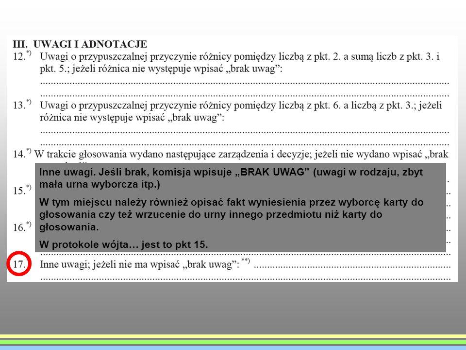 """Inne uwagi. Jeśli brak, komisja wpisuje """"BRAK UWAG (uwagi w rodzaju, zbyt mała urna wyborcza itp.)"""
