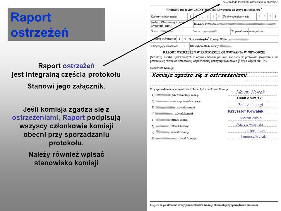 Raport ostrzeżeń Raport ostrzeżeń jest integralną częścią protokołu
