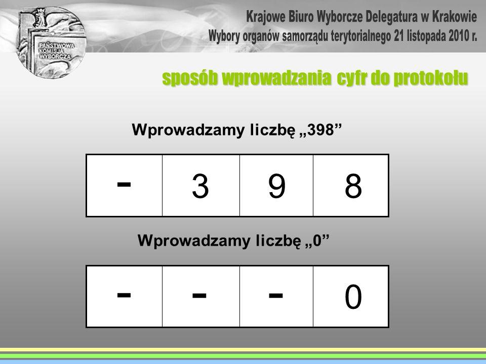 - - - - 3 9 8 Krajowe Biuro Wyborcze Delegatura w Krakowie